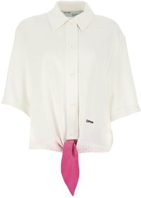 Off-White Paint Splatter Effect Bow Detail Shirt