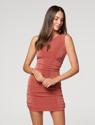 Forever New Beatrix Ruched Glitter Mini Dress - Rust - 10