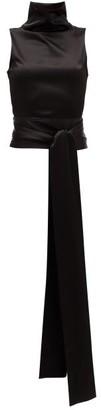 Galvan Luna High-neck Sash-detail Satin Blouse - Womens - Black