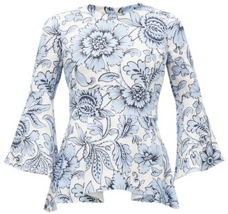 Erdem Mattias Modotti Wallpaper-print Linen Blouse - Womens - Blue White
