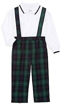 Florence Eiseman Baby's & Little Boy's Two-Piiece Polo Shirt & Plaid Suspender Overalls Set