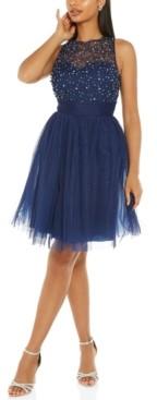Quiz Embellished Illusion Fit & Flare Dress