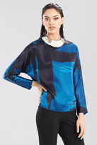 Josie Natori Abstract Calligraphy Top