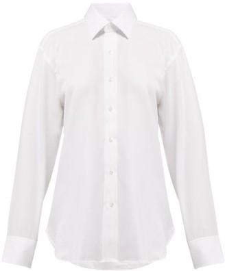 Emma Willis Herringbone Long-sleeved Cotton Shirt - Womens - White