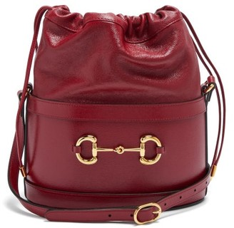 Gucci 1955 Horsebit Drawstring Leather Bucket Bag - Red