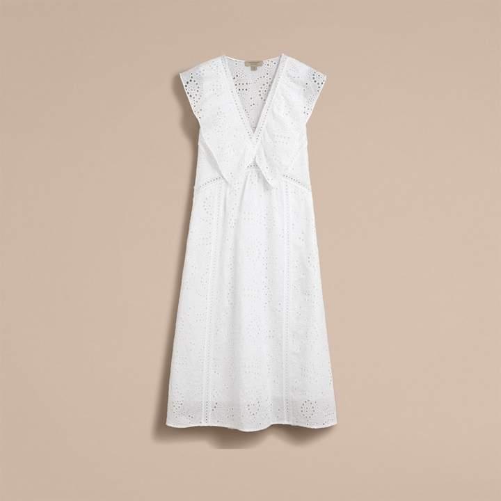 Burberry Sleeveless Broderie Anglaise Ruffle Detail Dress