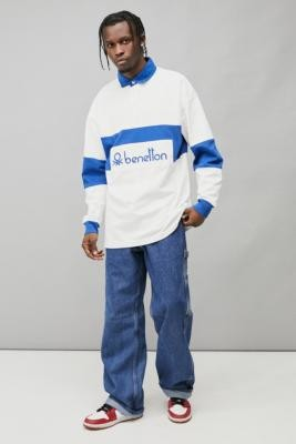 Benetton White & Blue Rugby Shirt - White S at Urban Outfitters