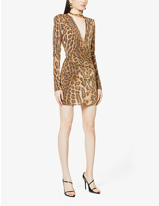 Alexandre Vauthier Leopard-print woven mini dress