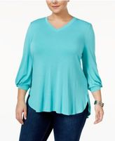 Melissa McCarthy Trendy Plus Size Bishop-Sleeve Top