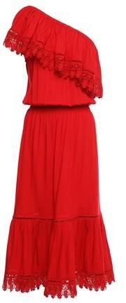 Melissa Odabash Jo One-shoulder Crochet-trimmed Broadcloth Midi Dress