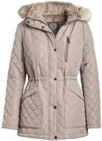 Vince Camuto Women's Puffer Coats Thistle - Thistle Faux-Fur Collar Quilted Puffer Coat - Women