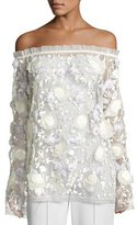 Naeem Khan Embroidered Off-the-Shoulder Peasant Top, White