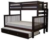 Bedz King Mission Twin over Full Bunk Bed with Trundle Bed Frame