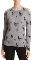 Aqua Cold Shoulder Skull Sweater