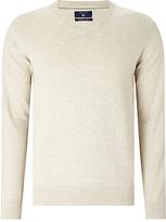 Gant Lightweight Cotton V-neck Jumper, Putty Melange