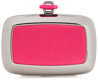Roger Vivier Satin-paneled Silver-tone Box Clutch