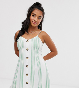 Asos DESIGN Petite Exclusive mini cami swing dress with faux wood buttons in green stripe