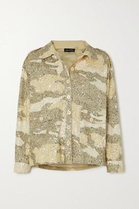 retrofete Idan Sequined Camouflage-print Cotton Jacket - Beige