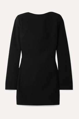 Saint Laurent Open-back Bow-embellished Wool-crepe Mini Dress - Black