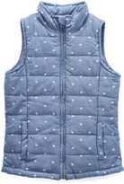 Blue & White Hearts Puffer Vest - Girls