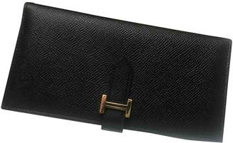 Hermes Bearn Black Leather Wallets