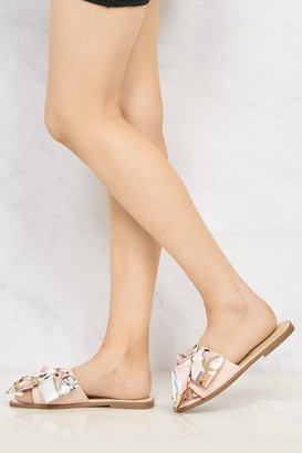 Miss Diva Paris Chain Print Silk Bow Open Toe Flat Sliders in Pink
