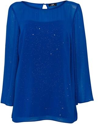 Wallis **TALL Blue Sparkle Overlay Top