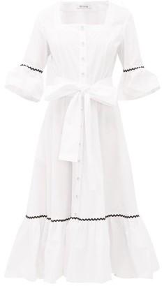 Batsheva Delsey Rickrack-trim Cotton Midi Dress - White