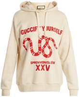 Gucci Snake-print cotton-jersey hooded sweatshirt
