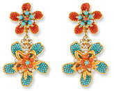 Jose & Maria Barrera Double Flower Drop Clip-On Earrings, Turquoise/Coral