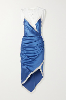 Alexander Wang Wrap-effect Layered Lace-trimmed Silk-satin And Cotton-jersey Dress - Azure