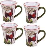 Certified International 4-Piece Winter Garden Reindeer Mug Set