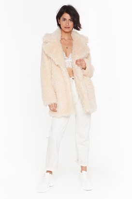 Nasty Gal Womens Fur Your Information Faux Fur Longline Coat - black - 12