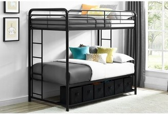 Harriet Bee Brogdon Twin over Twin Bunk Bed with Shelf Bed Frame Color: Black