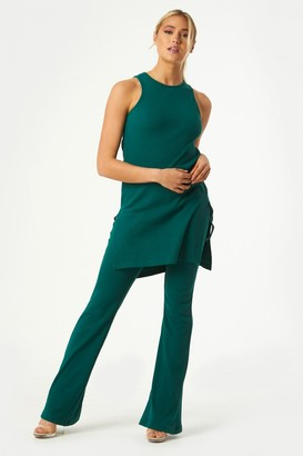 Little Mistress Mylan Emerald Green Ribbed Ruched Side Longline Top Co-ord