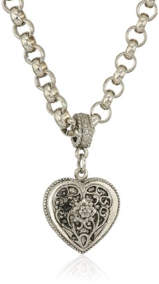 1928 Jewelry Womens Silver Tone Filigree Heart Pendant Necklace 16