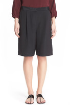 Tibi Pleated Silk Shorts