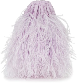 The Attico Feather-Trimmed Drawstring Pouch