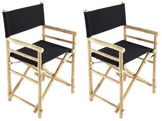 One Kings Lane Set of 2 Director's Outdoor Chairs - Black