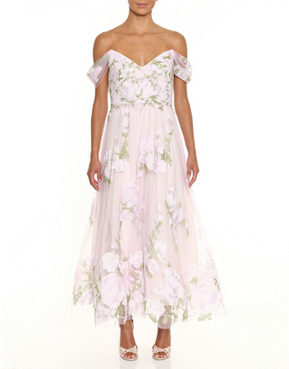 Marchesa Off-the-Shoulder Floral Embroidered Dress