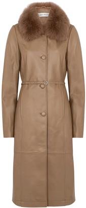Saks Potts Charlot brown fur-trimmed leather coat