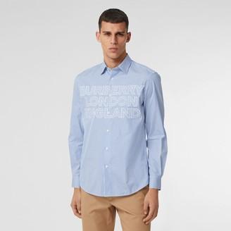 Burberry ogo Appique Striped Cotton Popin Shirt