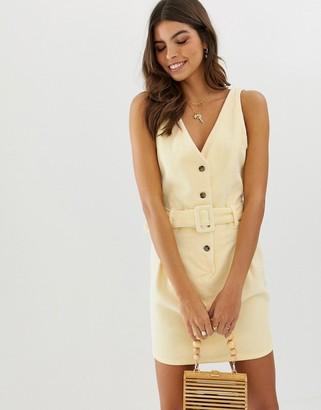 Asos Design DESIGN cord button through mini dress with belt in lemon