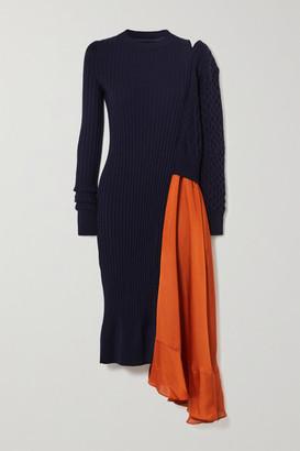 Sacai Asymmetric Paneled Ribbed And Cable-knit Wool And Satin Dress - Navy