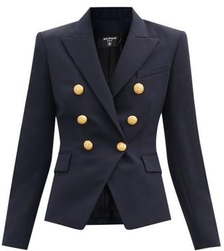Balmain Double-breasted Wool-twill Blazer - Navy