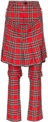 Ashley Williams Layered Tartan Straight-Leg Trousers