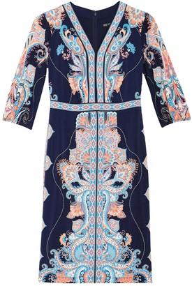 Maggy London Paisley V-Neck 3/4 Sleeve Side Slit Sheath Dress (Petite)