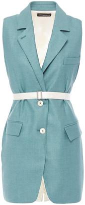 Ann Demeulemeester Belted Satin-paneled Silk And Wool-blend Vest