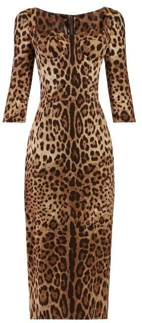 Dolce & Gabbana Leopard Print Cady Mini Dress - Womens - Leopard