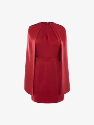 Alexander McQueen Cape Sleeve Mini Dress